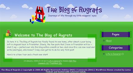WordPress theme snapshot for The Blog of Rugrats.